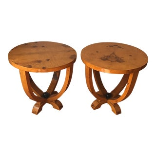Art Deco Burl Wood Tables - A Pair