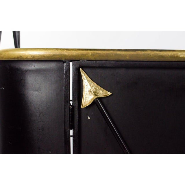 Black Modern Campaign Style Bakers Rack and Cabinet For Sale - Image 8 of 13