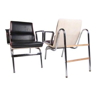 Pair of Stylish Vintage Modern Chrome and Vinyl Belmont Armchairs For Sale