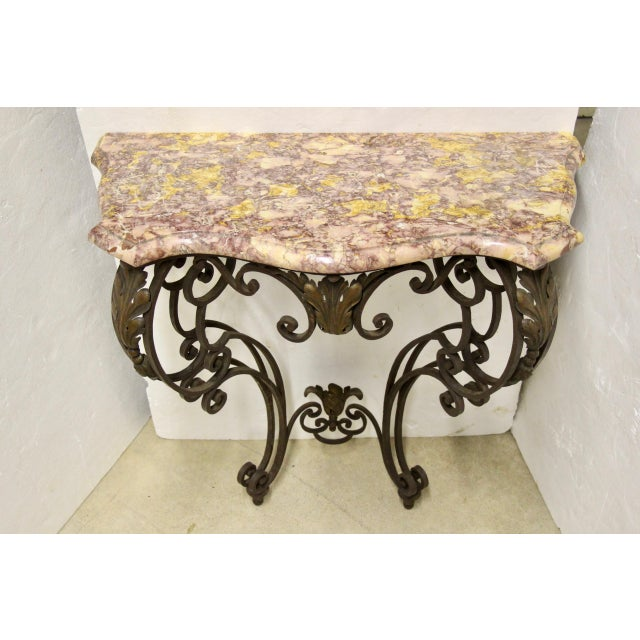 Baroque Wrought Iron Wall-Mounted Demilune Table For Sale - Image 3 of 8