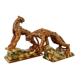 1940s Royal Haeger Glazed Ceramic Leopard Sculpture - Pair For Sale