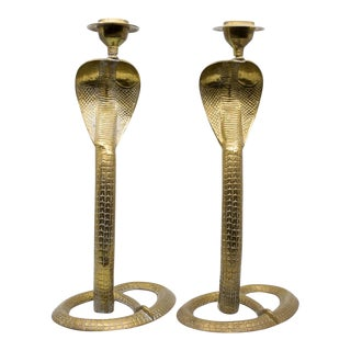 1960s Hollywood Regency Style Brass Cobra Form Candle Holders - a Pair For Sale