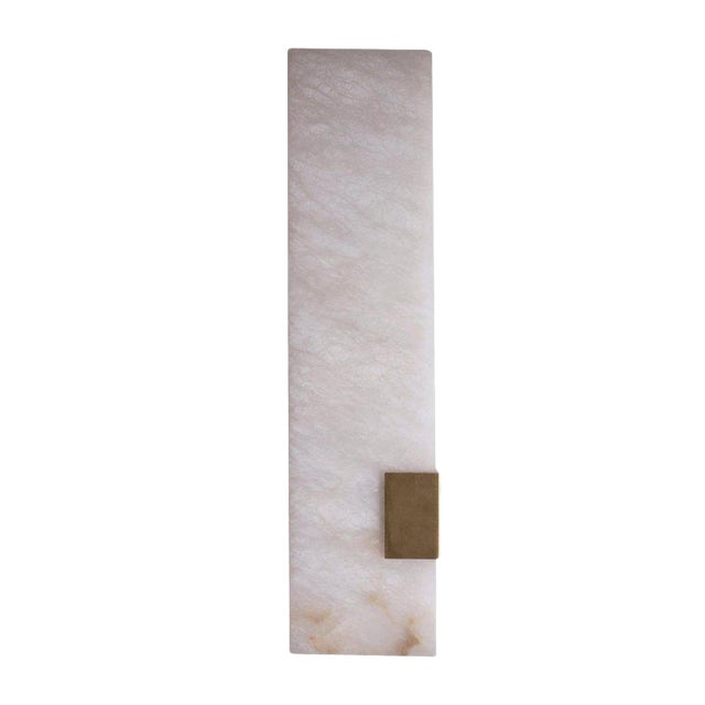 Contemporary 003-1c Sconce in Brushed Brass and Alabaster by Orphan Work, 2018 For Sale