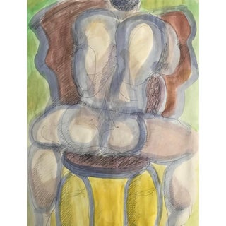 Male Nude Straddling a Chair Watercolor by James Bone For Sale