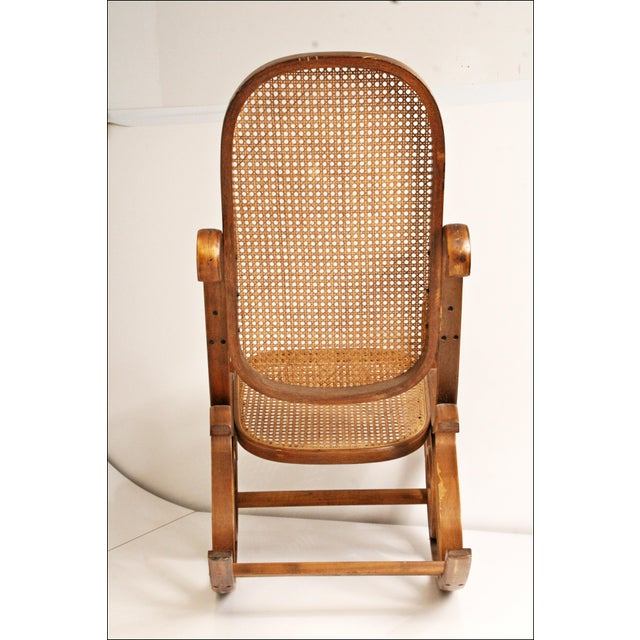 Vintage Thonet-Style Bentwood Cane Rocking Chair - Image 6 of 11