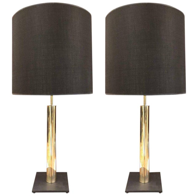 Pair of Polished Brass Cylindrical Lamps on Slate Base For Sale