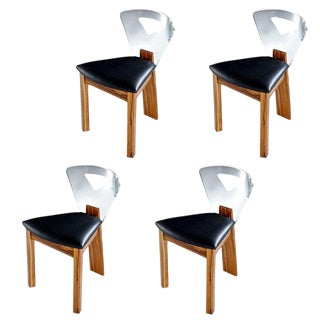 Vintage Modern Lucite Back Zebra Wood Dining Chairs - New Black Vinyl For Sale