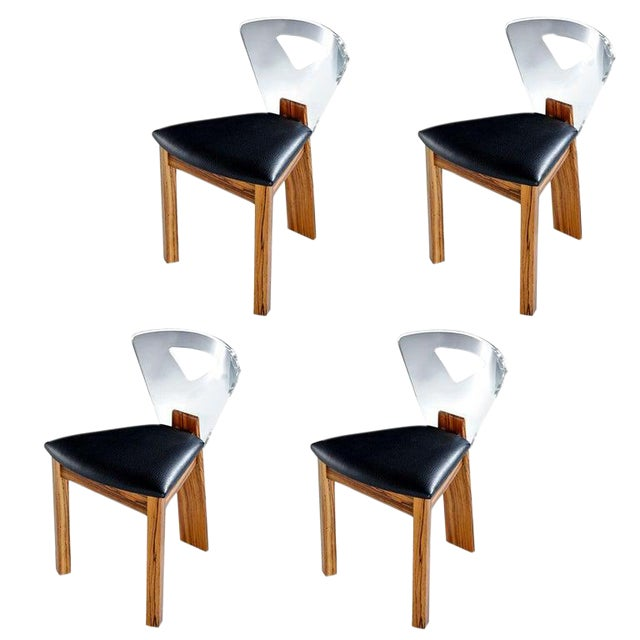 Vintage Modern Lucite Back Zebra Wood Dining Chairs - New Black Vinyl For Sale