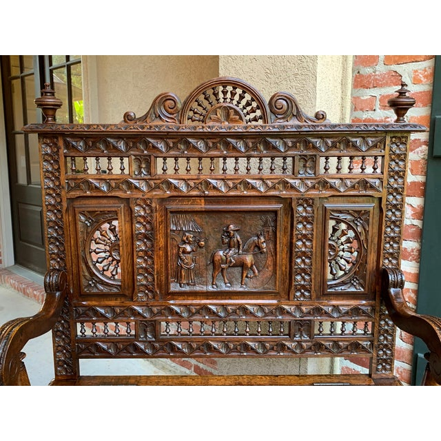 19th Century French Carved Oak Hall Bench Breton Brittany Pew Banquette For Sale - Image 4 of 13