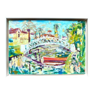 Venice Canal, California - Contemporary Oil Painting by Martha Holden For Sale