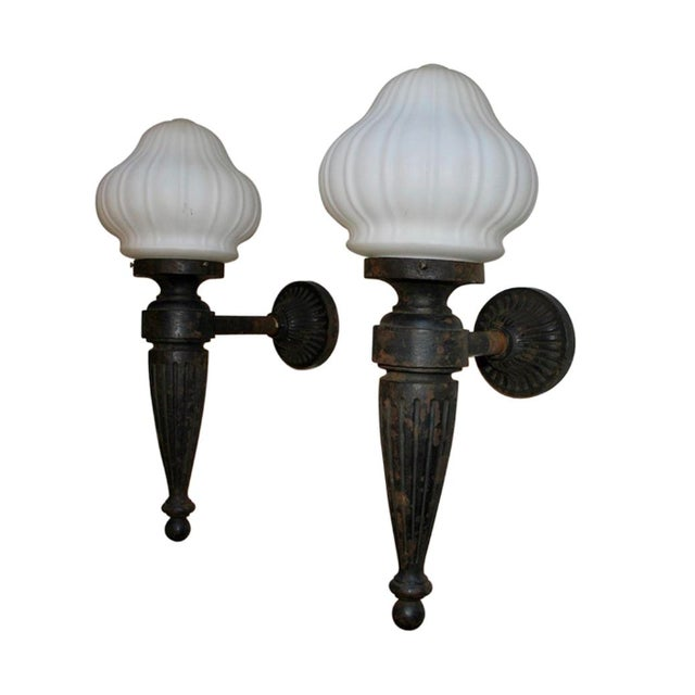 1920s Large Cast Iron Outdoor Sconces - a Pair For Sale In Los Angeles - Image 6 of 6