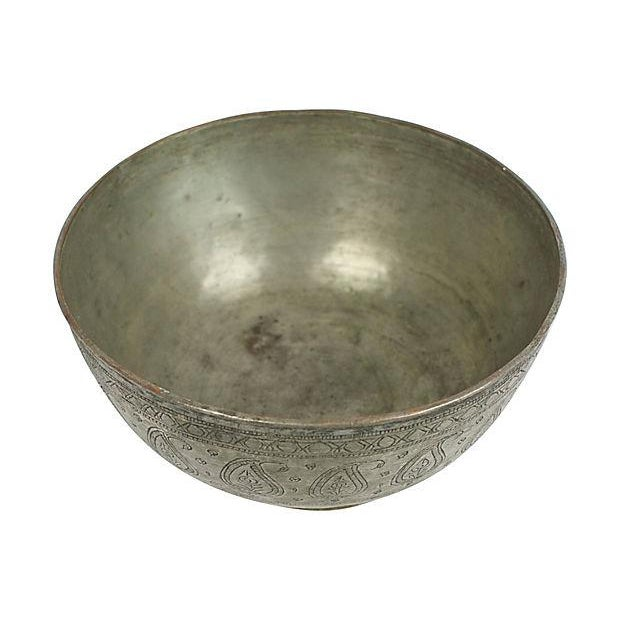 Boho Chic Antique Engraved Copper Bowl For Sale - Image 3 of 4