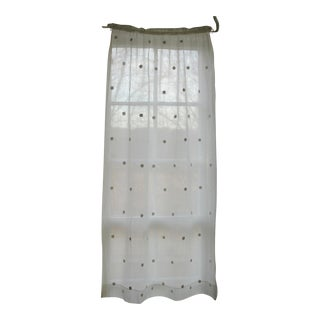 Antique 1800s French White Handworked Polka Dot Drape Cafe Curtain For Sale