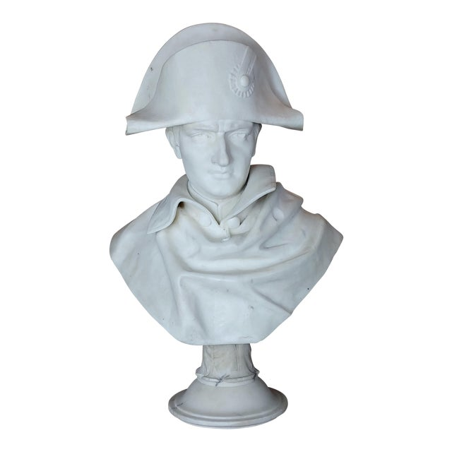 Napoleon Bonaparte Emperor 19th Century Marble Bust Hand Carved Carrara Marble Bust of Napoleon For Sale