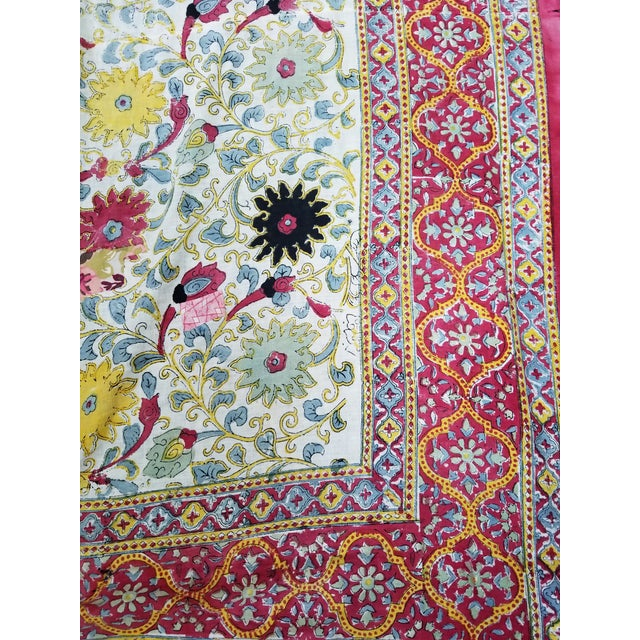 Beautiful cotton linen printed Suzani textile tapestry or throw.