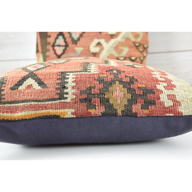Vintage Turkish Handwoven Kilim Pillows - Pair - Image 4 of 5