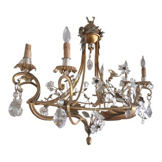 Gold and Silver Leaf Italian Banci Chandelier For Sale