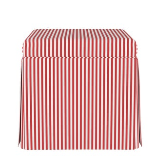 Skirted Storage Ottoman in Candy Stripe Red Oga For Sale