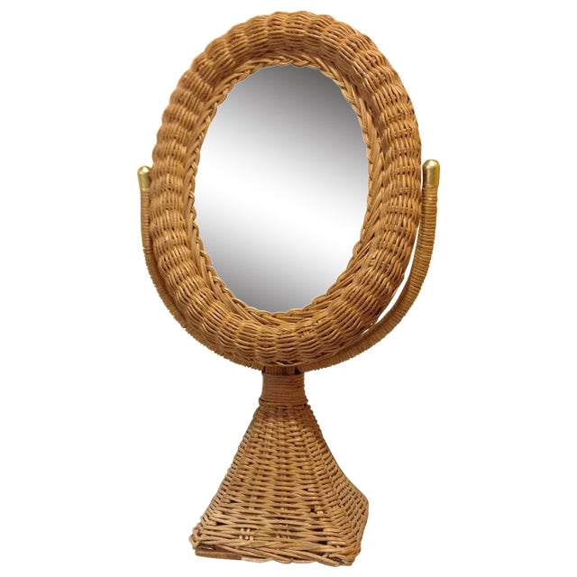 Hollywood Regency Wicker Mirror - Image 1 of 4