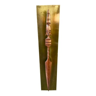1960s Tribal Jaru of California Wooden Wall Sculpture Spear For Sale