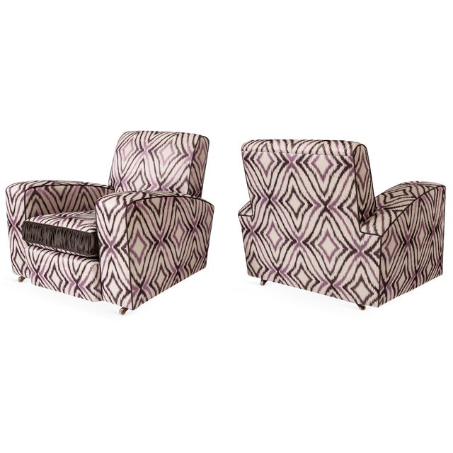 These are an amazing set of Art Deco chairs newly re-upholstered in a gorgeous Ikat silk fabric with deep purple and mauve...