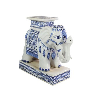 Vintage Chinoiserie Blue & White Porcelain Elephant Side Table/Garden Stool For Sale