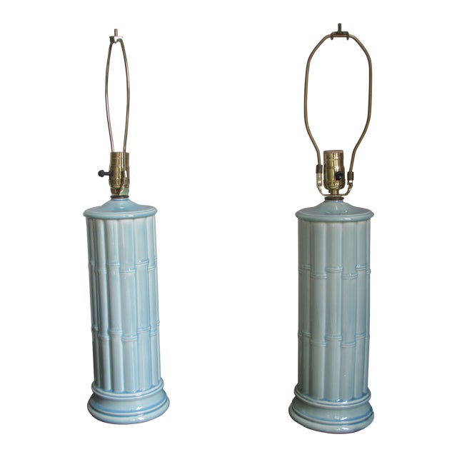 Vintage Celadon Table Lamps - A Pair - Image 1 of 4