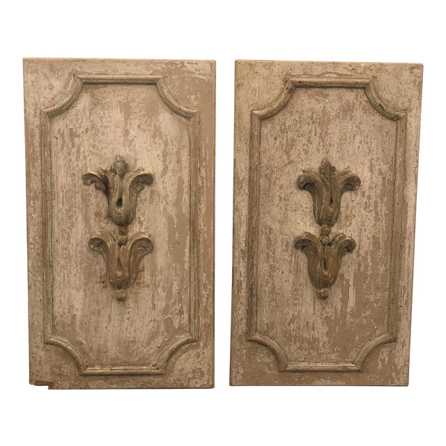 Wood Panels With Antique Fragments - A Pair For Sale
