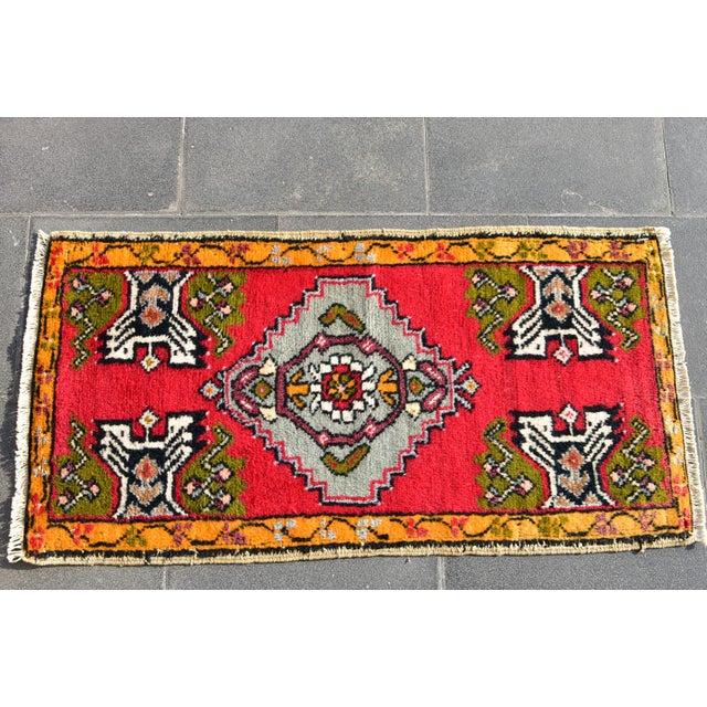 Tribal Vintage Turkish Anatolian Handmade Carpet - 2x3 Ft For Sale - Image 3 of 5