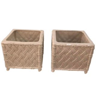 Vintage Hollywood Regency Nora Fenton White Faux Bamboo Ceramic Italian Planters Pots -A Pair For Sale