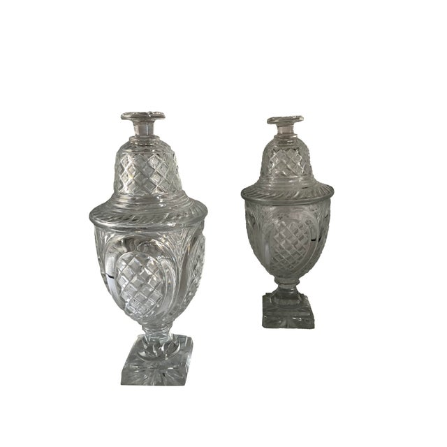 Glass 19th Century Vintage Crystal Covered Sweet Meat Urns - a Pair For Sale - Image 7 of 7
