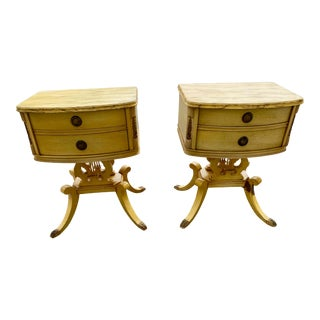 Pair of Lyre Harp Painted End Tables Nightstands For Sale