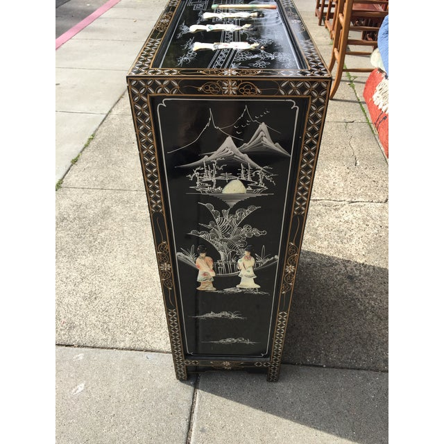Vintage Asian Black Lacquer Cabinet With Mother Of Pearl For Sale - Image 4 of 10