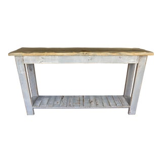 Soft Gray Reclaimed Wood Console Table With Light Distress