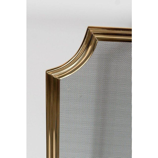 1920s Custom Modern Fire Screen in Polished Brass with Curved Corner Detail For Sale - Image 5 of 9