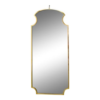 Mid Century Italian Brass Framed Wall Mirror For Sale