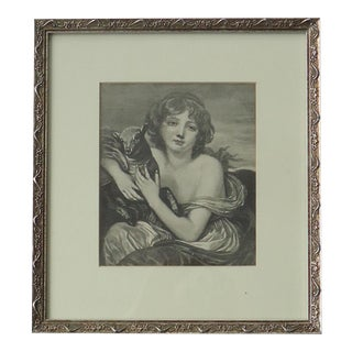 Early 20th Century Antique Girl With a Lamb Engraving Print For Sale