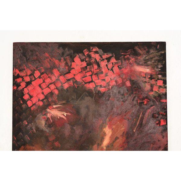 1960s Abstract Oil On Canvas RED For Sale - Image 5 of 7