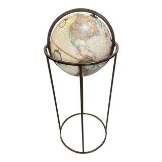 1970s Paul McCobb Style Brass Framed Globe For Sale