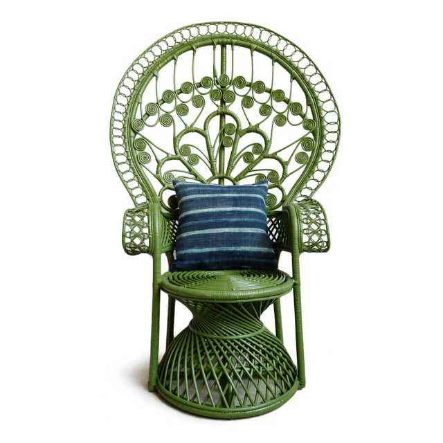2020s Green Moss Wicker Peacock Chair For Sale - Image 5 of 8