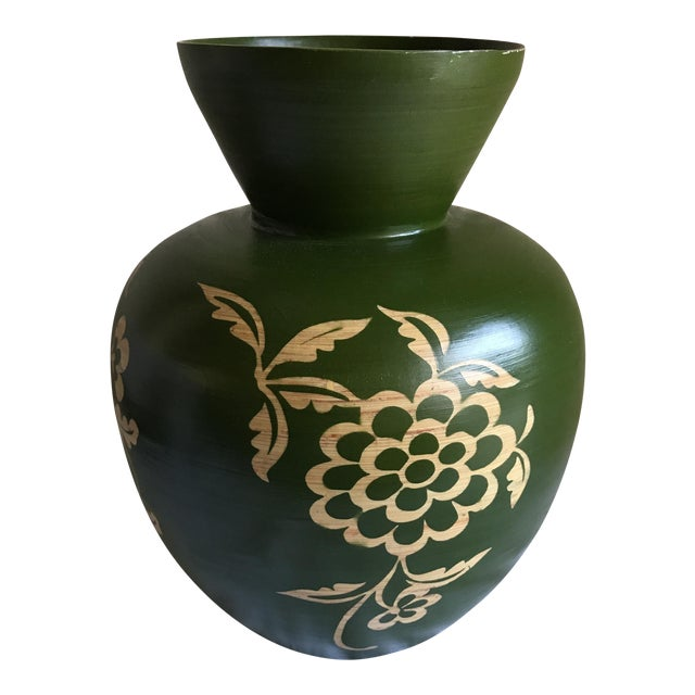 Floral Asian Bamboo Vase - Image 1 of 8