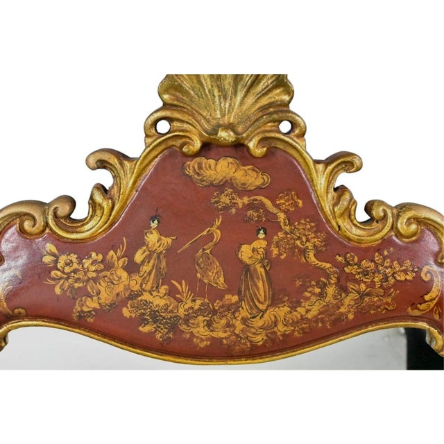 Vintage Chinoiserie mirror having undulating wood frame with gilt and hand-painted polychrome figural and foliate...