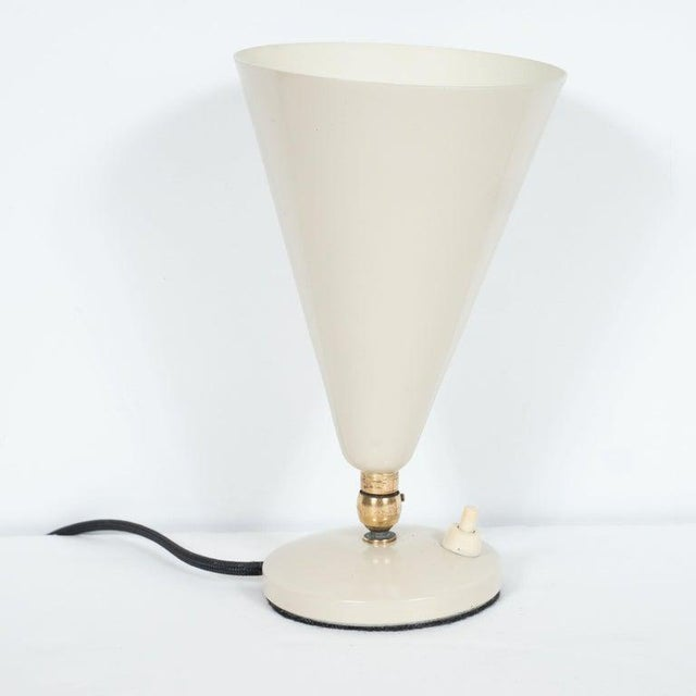Mid-Century Modern Mid-Century Modern Brass and Ivory Enamel Articulating Uplight For Sale - Image 3 of 7