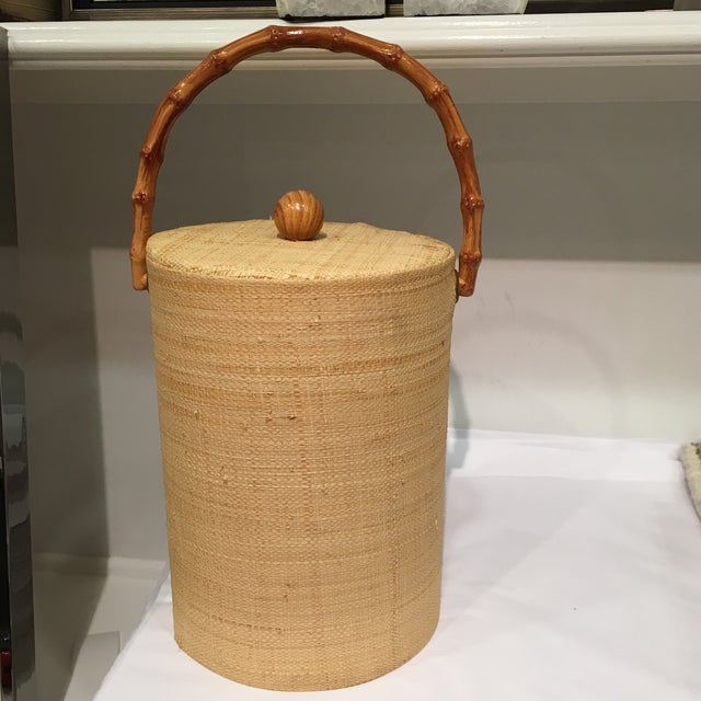 Bamboo Raffia Wrapped Ice Bucket With Bamboo Handle For Sale - Image 7 of 7