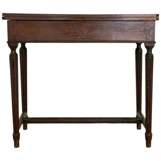 19th Century French Fold Over Mahogany Games or Tea Table For Sale