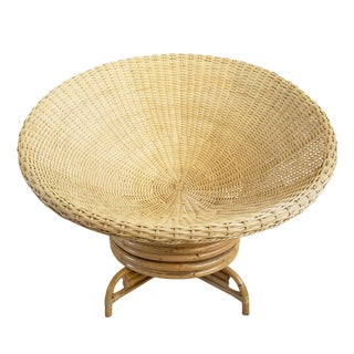Raw Wicker Swivel Cone Chair For Sale