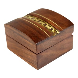 Mid 20th Century Vintage Handmade Brass Inlaid Wooden Box For Sale