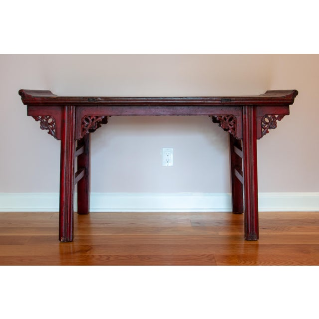 """Chinese carved altar table/Entry console/Desk with antique red finish. Table height (Center) Is 27.75""""; Highest point is..."""