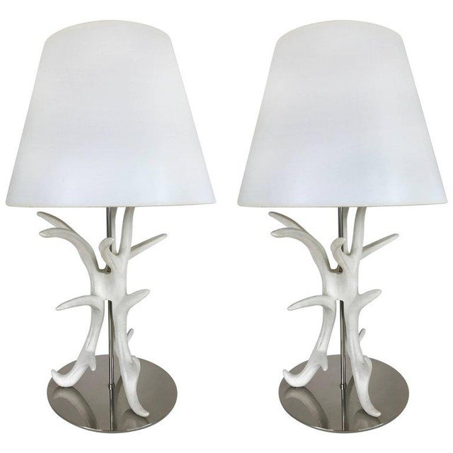 Contemporary White Painted Antler Table Lamps - A Pair For Sale - Image 3 of 3