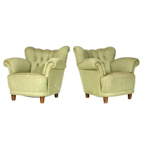 1940s Scandinavian Tufted Lounge Chairs - A Pair - Image 3 of 7